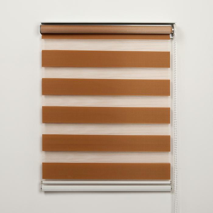 Штора рулонная «День-ночь», 90×180 см (с учётом креплений 3,5 см), цвет коричневый - фото 1706729
