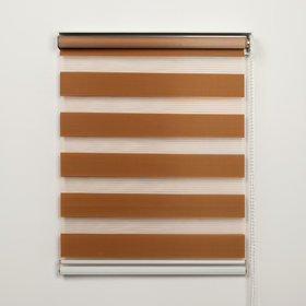 Штора рулонная «День-Ночь», 120×180 см (с учётом креплений 3,5 см), цвет коричневый