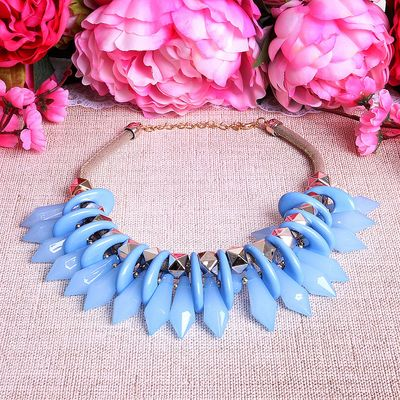 "Necklace ""Needle"" crystals, color light blue"