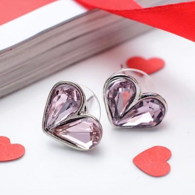 """Серьги пластик """"Сердечки"""" маленькие, цвет розовый в серебре"""