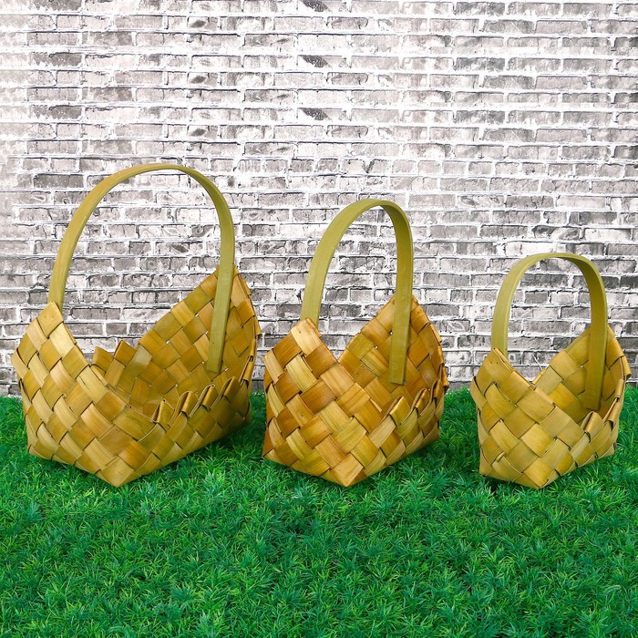 Набор корзин плетеных, 3 шт, сумочка, 28 х 19 х 31.5 - 18.5 х 10 х 25 см