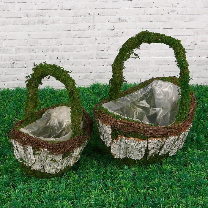 Набор корзин плетеных, 2  шт, с натуральным декором, 29 х 20 х 28 см