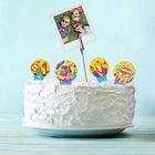 """Набор топперов для торта """"С Днём Рождения"""", 4 шпажки + держатель для фото"""