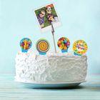 """Набор топперов для торта """"Поздравляем"""", 4 шпажки + держатель для фото"""
