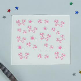 """Наклейки для ногтей """"Бантик"""", цвет бело-розовый"""