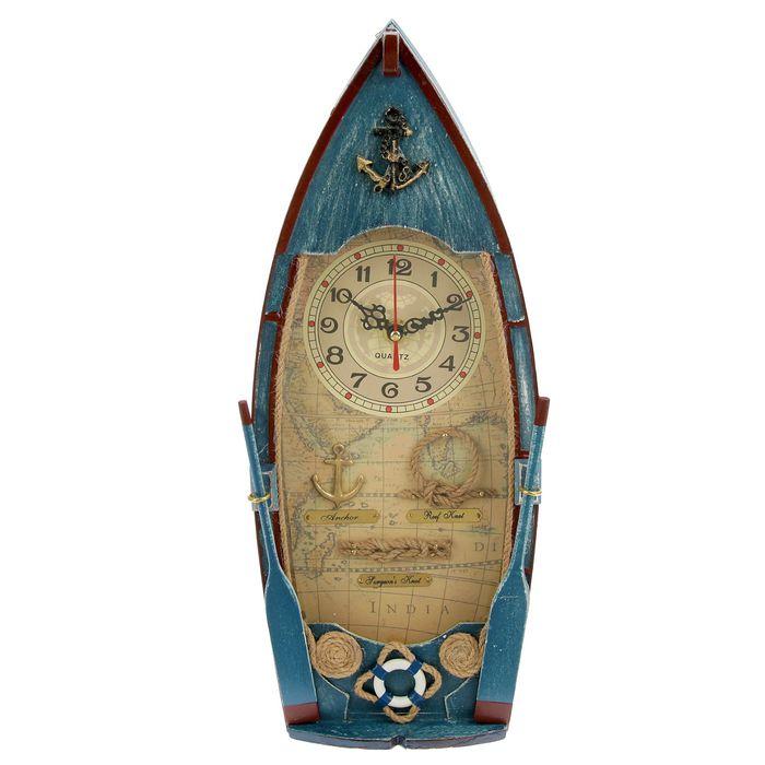 """Ключница дерево лодка """"Мореплаватель"""" синяя МИКС 39,5х18х8,5 см"""