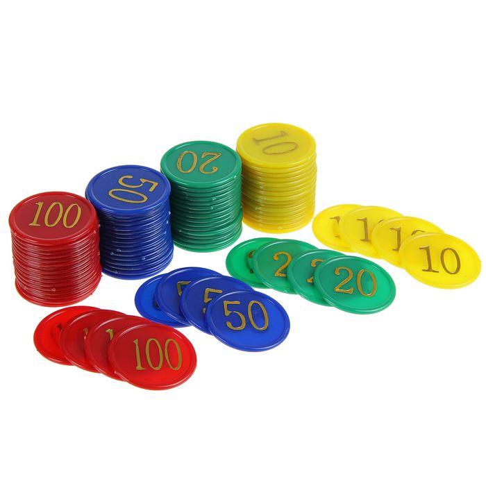 Набор фишек 80шт с номиналом d-38мм 8,5х11,5см