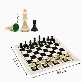 Шахматы в пакете, фигуры пластик (пешка h=4.5см, ферзь h=9.5см) + поле текстильное