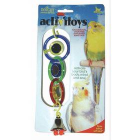 Игрушка для птиц J.W. - 3 зеркальца с колокольчиком, пластик, микс