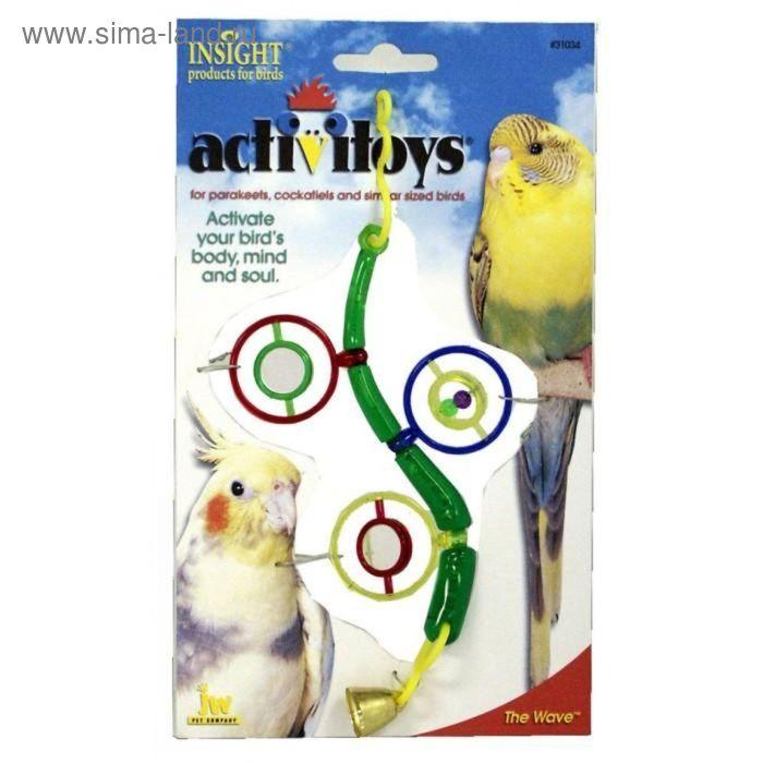 Игрушка для птиц J.W. - Веточка с зеркальцами, бусинками и колокольчиком, микс