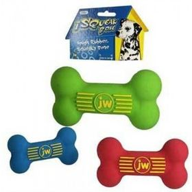 Игрушка для собак J.W. - Косточка с пищалкой, каучук, средняя, микс