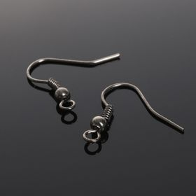 Earrings hooks with bead CM-214 (set of 5 pairs), gray color