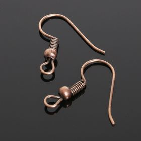 Earrings hooks with bead CM-214 (set of 5 pairs), copper color