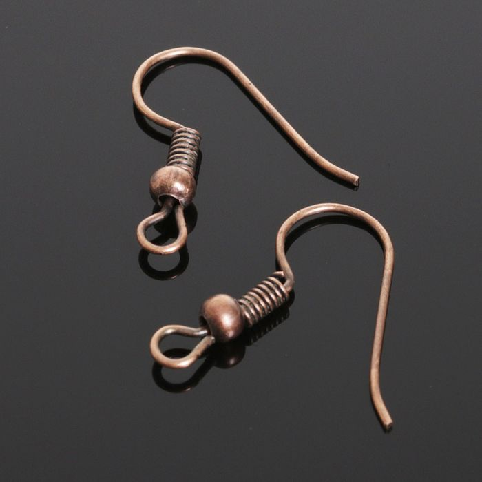 Швензы-крючки с бусиной СМ-214, (набор 5 пар), цвет меди