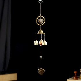"""Wind chimes metal """"Heart with rose in circle"""" 3 bells 1 figure 40 cm"""
