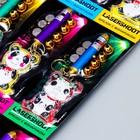 """Фонарик лазер 5 насадок + игрушка """"Лабиринт"""" панда МИКС 17х7 см"""
