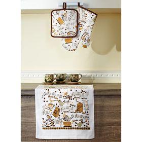 Набор кухонный «Дизайн Кофе»: прихватки - 2 шт, полотенце 38 × 64 см - 2 шт