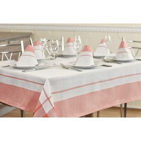 Набор кухонный Duet: скатерть 160 × 220 см, салфетки 40 × 40 см- 6 шт, белый/розовый