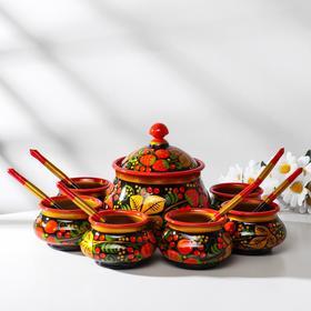 """Set of tableware """"Khokhloma"""" for honey, 14 items"""