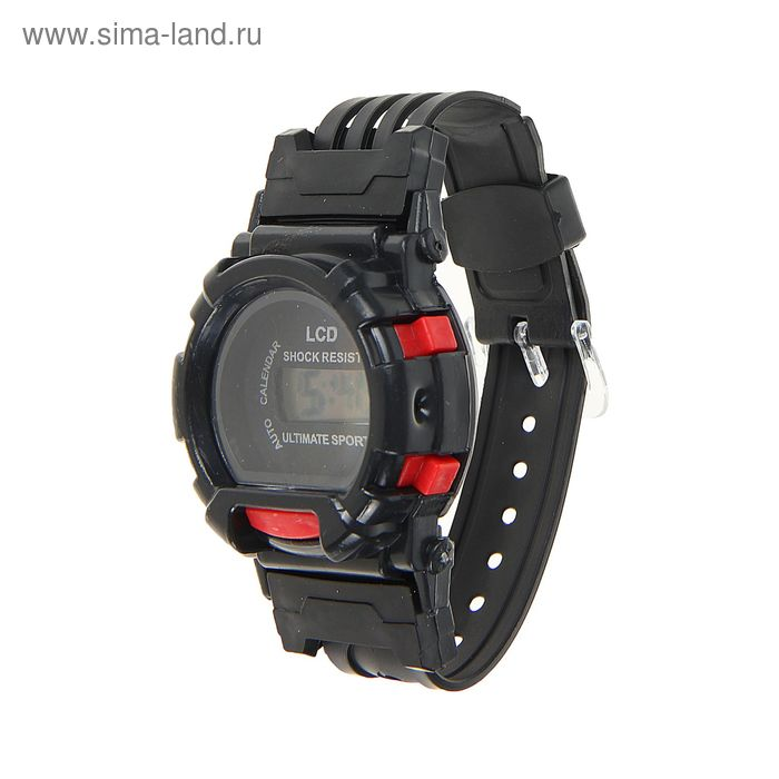 Часы наручные черные с красными вставками 24см