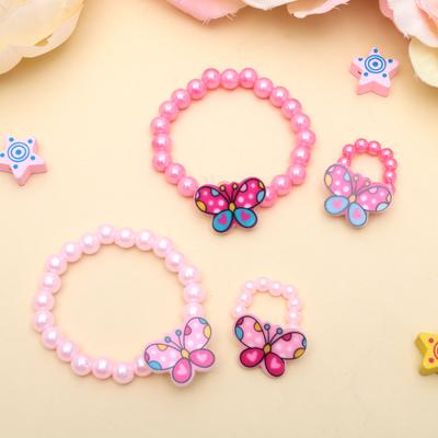 """Набор детский """"Выбражулька"""" 2 пред-а: браслет, кольцо, бабочка с бусинками, цвет МИКС"""
