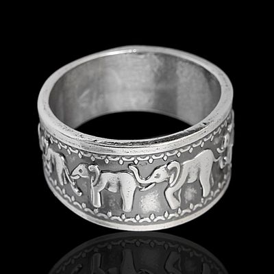"""Кольцо """"Слоны"""", посеребрение с оксидированием, 17 р-р"""