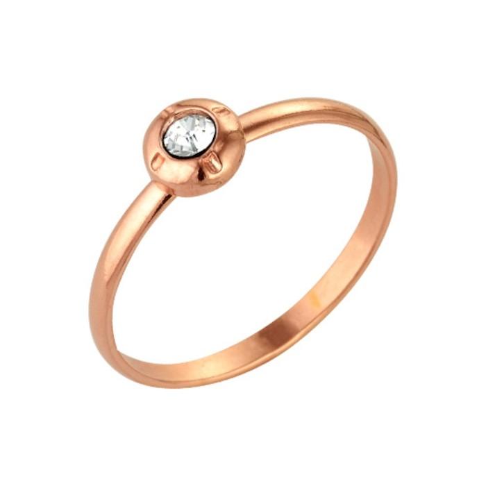"""Кольцо позолота """"Классика"""" круг со вставкой, 16 размер"""