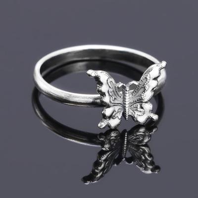 """Кольцо """"Бабочка"""", посеребрение с оксидированием, 17 размер"""