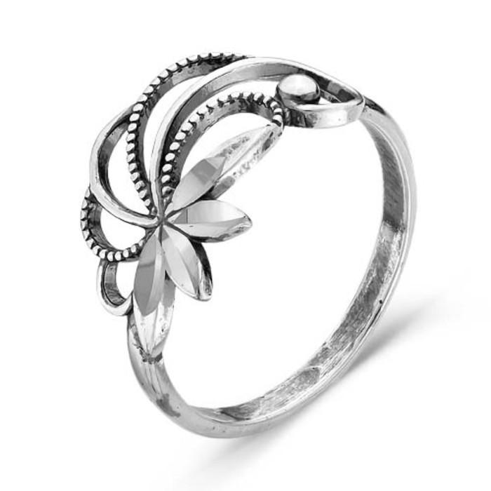 """Кольцо посеребрение с оксидированием """"Ива"""", 17 размер"""