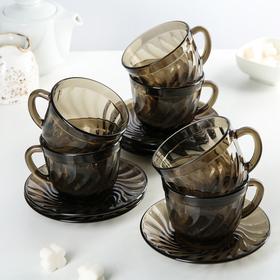 Сервиз чайный Ocean Eclipse, 12 предметов: 6 чашек 220 мл, 6 блюдец, цвет дымчатый