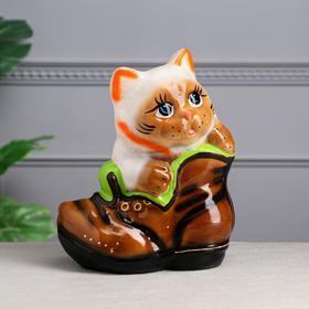 """Копилка """"Кот в ботинке"""", покрытие глазурь, разноцветная, 28 см, микс"""