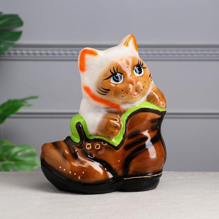 """Копилка """"Кот в ботинке"""", разноцветная, глазурь, 28 см, микс"""