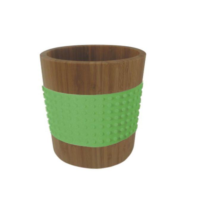 Контейнер бамбуковый овальный зеленый, 400 мл