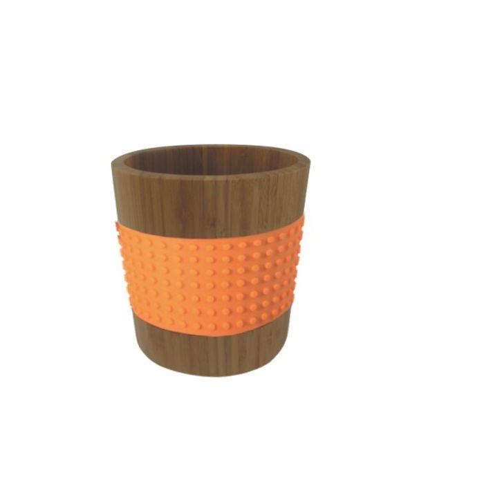 Контейнер бамбуковый овальный оранжевый, 400 мл