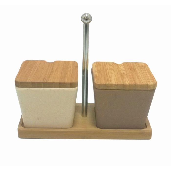 Набор для специй сервировочный из бамбука, 2 предмета