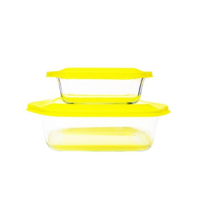 Набор стеклянных форм для запекания, желтый