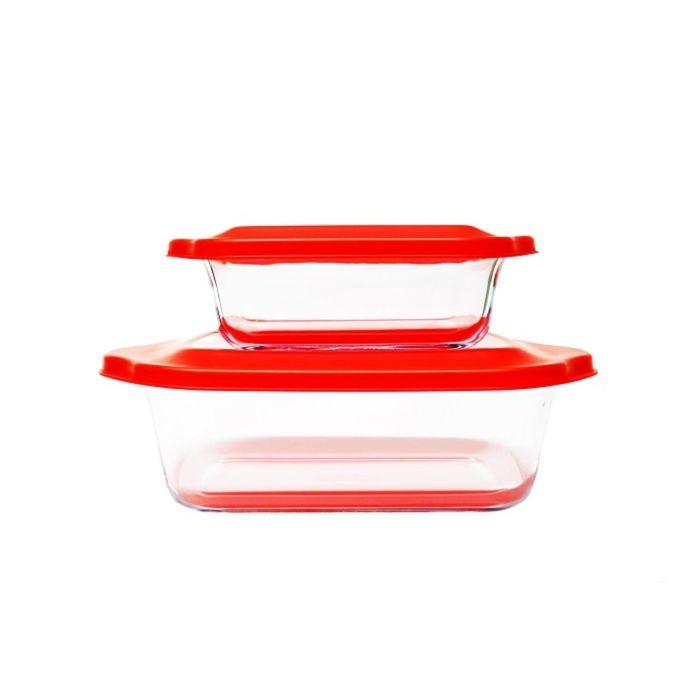 Набор стеклянных форм для запекания, красный