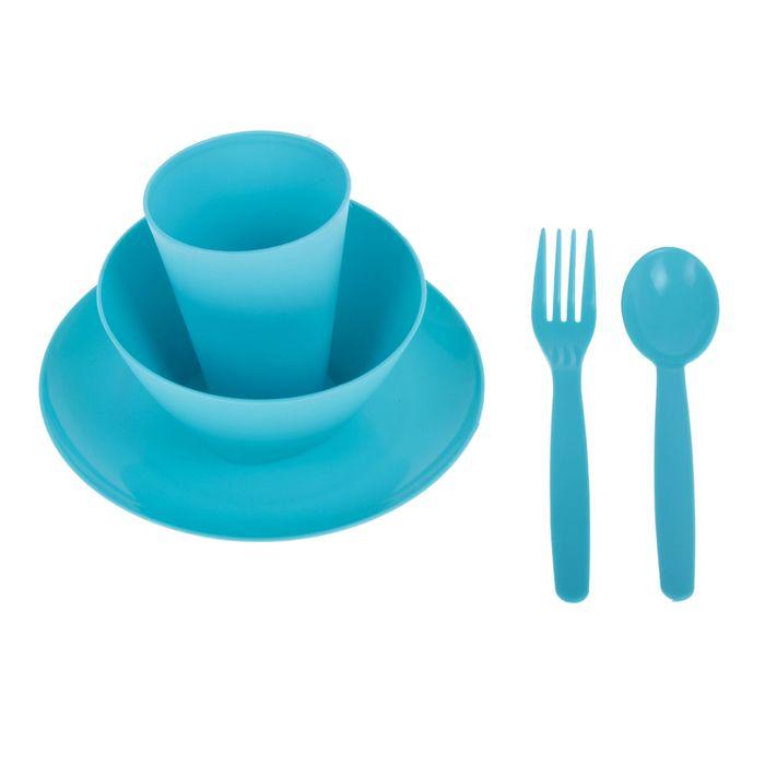 Набор посуды для детей, 5 предметов: тарелка, миска, стакан, ложка и вилка, цвет бирюза