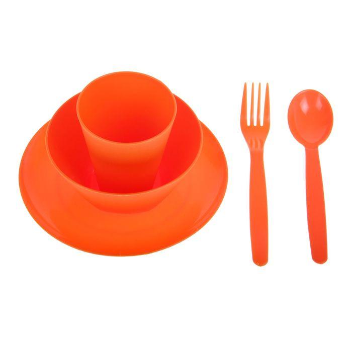 Набор посуды для детей, 5 предметов: тарелка, миска, стакан, ложка и вилка, цвет мандарин
