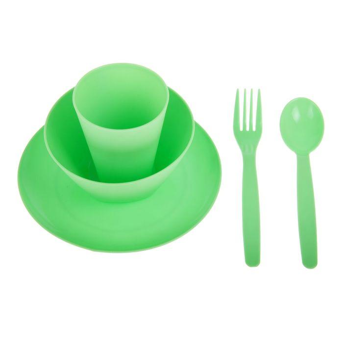 Набор посуды для детей, 5 предметов: тарелка, миска, стакан, ложка и вилка, цвет салатовый