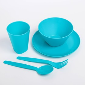 Набор посуды для детей, 5 предметов: тарелка, миска, стакан, ложка и вилка, цвет МИКС