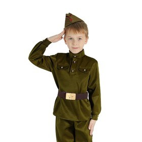 Костюм военного, гимнастёрка, пилотка, ремень, р-р 26, рост 104 см