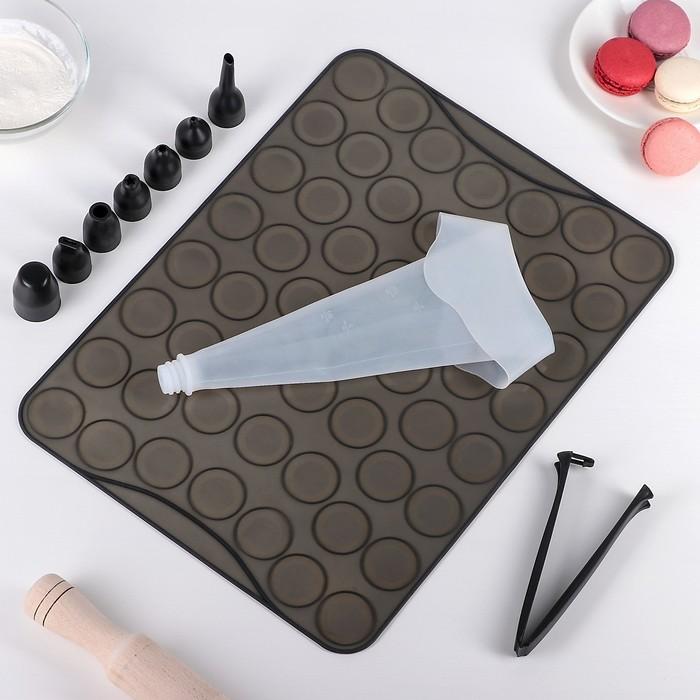 Набор для приготовления макарун: коврик 40х30 см, мешок силиконовый, 7 насадок, лопатка (ячейка 3,5 см)