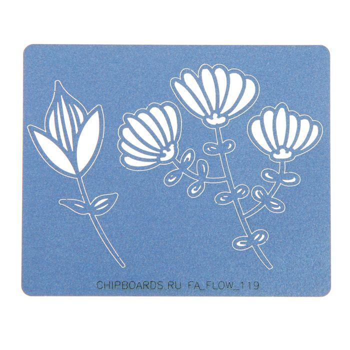 """Чипборд бумажный """"Цветочки"""" [19] синий, 2х5 см и 5,5х5,5 см"""