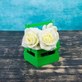 Кашпо флористическое, зелёное, со складной ручкой, 11х12х9см Ош