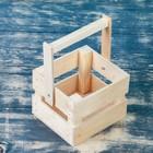 """Кашпо деревянное """"Однушка Лайт"""", двухреечное, ручка (складная), натуральный Дарим Красиво - фото 1695469"""