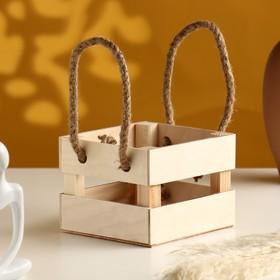 """Кашпо деревянное """"Однушка Лайт"""", двухреечное, ручка верёвка, натуральный Дарим Красиво - фото 1695483"""
