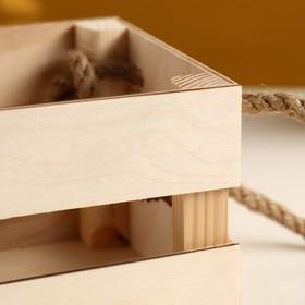 """Кашпо деревянное """"Однушка Лайт"""", двухреечное, ручка верёвка, натуральный Дарим Красиво - фото 1695484"""