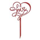 Топпер LOVE 10х17,5 см, бордовый