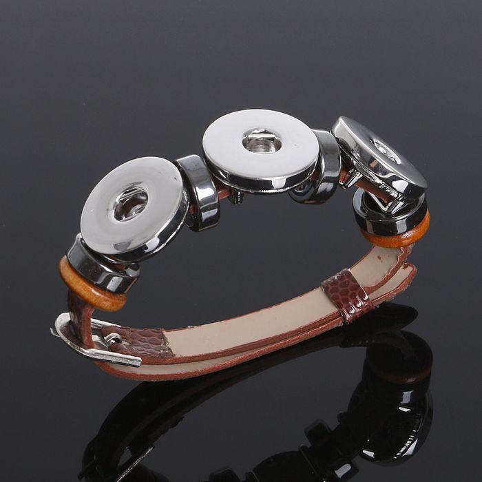 """Основа для браслета """"Круг"""" на три кнопки, цвет коричневый в серебре"""